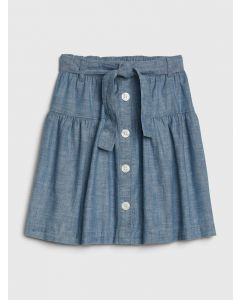 FALDA CHAMBRAY BUTTON-FRONT NIÑA