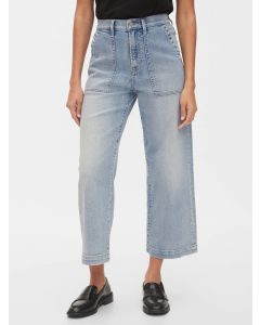 JEANS HIGH RISE UTILITY WIDE-LEG CROP MUJER